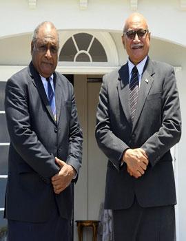Fiji's Roving Ambassador to the Pacific Islands States and Special Envoy to the Regional Organisations under the Council of Regional Organisations in the Pacific, Ratu Seremaia Tuinausori Cavuilati with His Excellency the President Major-General (Ret'd) Jioji Konusi Konrote.Photo courtesy of Fijian Government.