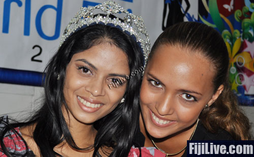 (L-R)Miss World Fiji Koini Vakaloloma with ousted Miss World Fiji Torika Watters.(File Photo)