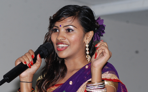 Miss India Fiji hopeful Nikita Prakash portrays her singing talent to judges during the semifinals of the event at TappooCity in Suva. Photo: Avikash Chand.