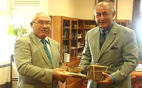 Fiji�s President, His Excellency Ratu Epeli Nailatikau and Tokelau president, His Excellency Kerisiano Kalolo. Photo: Courtesy of Ministry of Information